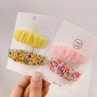 Ювелирные изделия для волос Корейская версия малой свежей плиссированной цветочной ткани BB Clip Contrast Color Pastorlal Girl Bangs боковая шпилька