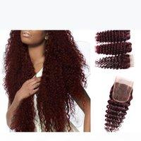 Monogolian Kinky Curl 5 шт. Лот Перуанский 99J Глубокие вьющиеся волосы уток Боргундия Человеческие волосы Пучки Глубокие Волна Красные Перуанские Волосы Окрашены