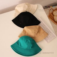 Designer Girls letter applique hat kids candy color Fisherman caps boys big brim basin cap children outdoor travel visor hats 12 colors Q2196