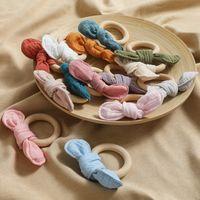 아기 Teether 아기 젖니가 장난감 나무 반지 토끼 귀 teethers 간호 훈련 만화 토끼 장난감 아기 제품 gwf6717