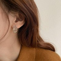 Hoop & Huggie 2021 Korean Simple Double Circle Gold Color Metal Rhinestone Drop Earrings For Women Fashion Small Pendant Jewelry Gifts