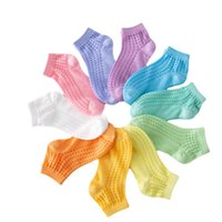 10 Colors Children Breathable Mesh Socks Girls Boys Solid Color Elastic Short Sock Summer Spring Baby Kids Student Clothing Stockings 2-12Y
