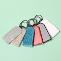 NEWParty Favor PU Leather Sublimation Sequin Keychain 5 Shapes DIY Glittery Keyring (back is white) Heart Shape Lover Gift Key Ring DH9477
