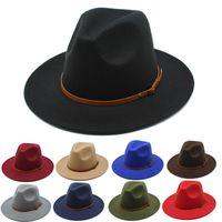hats for women fashionable fedora autumn and winter British style jazz woolen big eaves felt hat flat brim