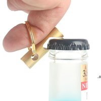 Abridor de garrafa de latão portátil Keychain Cozinha doméstica Corkscrew Multifuncional Outdoor Tools Keyring Pingente FWA7642