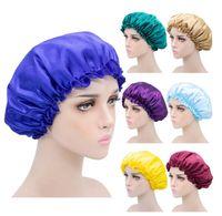 Couleur solide Soie Satin Satin Chapeau Soins de cheveux Accessoires Femmes Couvercle de tête Capses de sommeil Bonnet 10pcs