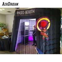 Черный светодиодный мигающий свет надувной фото стенд свадебные фотографии палатка стоять с сумкой переноски для вечеринки и на фоне на фоне
