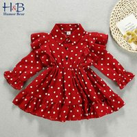 Humor Bear New Children'S Clothing Long-Sleeved Polka Dot Dress Lapel Spring Autumn Korean Baby Kids Princess Party Dress 210430