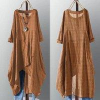 Casual Dresses ZANZEA Asymmetrical Midi Dress Womens Check 2021 Female Long Sleeve Plaid Vestidos Summer Sundress Shirt Robe