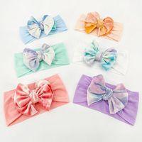 Acessórios de cabelo gravata-tintura bowknot nylon faixa de faixa infantil moda macio altamente elástico bebê bandas um tamanho caber a maioria dos headwear de arco nó
