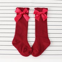 Socks Kids Toddlers Girls Solid Big Bow Knee High Long Soft Cotton Lace Baby