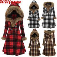 패션 겨울 자켓 여성 체크 무늬 두꺼운 단일 브레스트 오버 코트 슬림 따뜻한 파카 캐주얼 스커트 스타일 긴 여성 트래프 여성의 다운