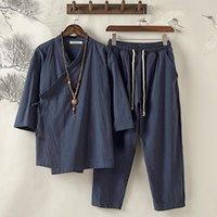 Tute da uomo Giapponese Uomo Giapponese Colore Solido Estate Sottile Tang Tang Suita Cinese Antico Top Allentati Cardigan Plus Size 5XL Hanfu Harajuku Kimono Robe