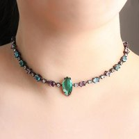 Colorful Choker Necklace Crystal Glass Stone For Women Gift Geometry Green Pendant Short Chain Statement Jewelry Chains