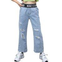 جينز بنات الربيع السقوط السراويل الدافئة للأطفال تخفيف السراويل المراهقة مدرسة ارتداء الدينيم 4-15Y أبلى