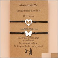 Charm Bracelets Jewelry Mothers Day Card Creative Stainless Steel Hollow Butterfly Heart Woven Bracelet For Mam Mama Mother Girl Gift Drop D