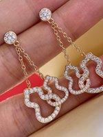 Exquisito gourd doble hueco fuera de diamante kirin plateado plateado oro rosa oro collar de oro pendientes lujos diseñadores joyería