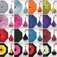 Reverse Folding Umbrella 30 Patterns Sunny Rainy Inverted Umbrellas With C-Hook Handle DHF7838