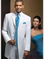 Yakışıklı Uzun Coat Damat Smokin Çentik Yaka Man İş Çalışması Busienss takım Balo Parti Elbise (Ceket + Pantolon + Yelek + Kravat) W: 306 Erkek Takım Elbise Blazers