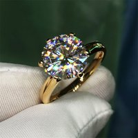 Solitaire 1.5ct Lab Diamond 24K Gold Ring Original 925 sterling silver Engagement Wedding band Rings for Women Bridal Jewelry
