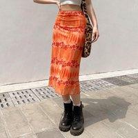 Röcke 2021 Sommer Gerade Midi Rock Vintage Koreanische Streetwear Floral Elegante Hohe Taille Frauen Mesh Doppelschicht Boho Bottoms