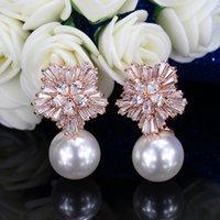 Alta versión coreana End Snowfloke Zircon Pendientes de cáscara Tarjetas de perlas naturales