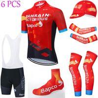 Полный набор 2021 Бахрейн Велоспорт Джерси 20D Shorts Sportswear MTB Maillot Bike Рубашка Downhill Pro Mountain Велосипедная одежда Костюм