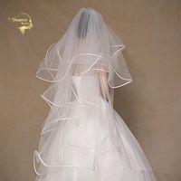 Bridal Veils Stock Short White Ivory 80CM Long To Hips Tulle Ruffles Wedding For Bride Accessoires Mariage Velos De Novia