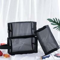 Women Men Necessary Portable Large Capacity Cosmetic Bag Transparent Travel Organizer Fashion Black Toiletry Bags Makeup Pouch EWD8946