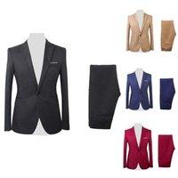 Men's Suits & Blazers 2Pcs Set Men Formal Business Party Solid Color Long Sleeve Blazer Suit Pants Fashion Wedding For 2021