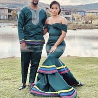 Dark Green Tiered Mermaid Evening Dresses With Pearl Beads Plus Size Women Off Shoulder Long Prom Formal Occasion Gowns