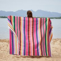 Blankets Mexican Party Table Runner Rainbow American Style Sofa Cover Blanket Tablecloth Beach Mat Towel For Beds