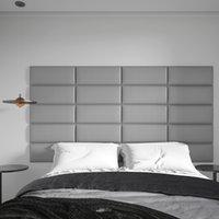 灰色の25 x 60cm、3D布張りの壁パネルの双子のティンとステッカーヘッドボードの芸術3D 4個のピールとステッカーヘッドボード