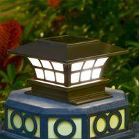 Kaffee-Säulenkopf Solarlampe angetrieben von Sun Lights Outdoor-Beleuchtung IP65 wasserdichte dekorative Wandlampen Garten Post-Kappe-Zaun-Licht weiterarbeiten für 6 ~ 8 Stunden