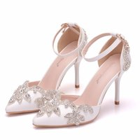 Sandals Women's slippers, crystal queen, diamond blue wedding shoes, thin-toed bride's high-heel sandals for the party. H96K