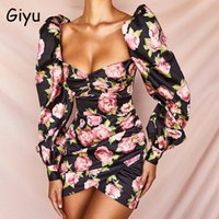 Casual Dresses Giyu Vintage Floral Print Club Party Dress Women 2021 Spring Summer Puff Sleeve Backless Bodycon Flower Mini Vestidos