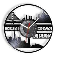 Orologi da parete San Francisco Paesaggio urbano Art Laser Taglio Longplay Orologio Golden Gate Bridge California Risorse Record