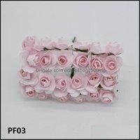 Decorative Flowers Wreaths Festive Supplies Home & Garden2Cm Diameter Artificial Paper Flower Head Mini Mticolor Rose Bouquet For Scrapbooki
