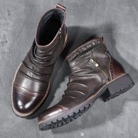 Hombre Martins Botas Hecho a mano Masculino Crazy Horse Cuero Zapatos Hombre Ankel Vestido Gran tamaño Hombres Casual Lace-Up Boot
