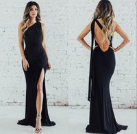 Sexy Black Mermaid Long Evening Dresses with Slit 2021 One-shoulder with Ribbon Backless Party Maid of Honor Prom Dress Guest Gowns Cheap