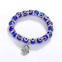 8mm Turkey Evil Blue Eyes Beads Bracelets Hamsa Hand Charm Bracelet Men Women Fashion Jewelry Friendship Bracelet