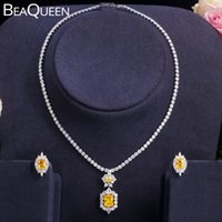 BeaQueen Nobre Amarelo Princesa Cúbica Zircônia Brincos Brincos Colar de Jóias de Casamento Conjuntos de Jóias para Noivas JS260 210323