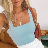 Women's Tanks & Camis Women Crop Tops Tank Sexy Sleeveless Wide Straps Backless Solid Casual 2021 Summer Slim Top