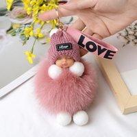 Anahtarlık Ponpom Uyku Bebek Askı Sevimli Kabarık Pluche Pop Kadınlar Cepler Araba Askıları Zehir Büyüleyici Dekorasyon
