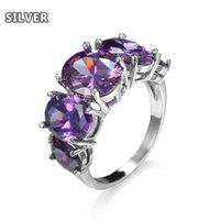 Anello di fascino dell'anello ovale viola della gemma di modo Gioielli di fascino magnifico anello magnifico per le signore, anello di fidanzamento elegante della banda.