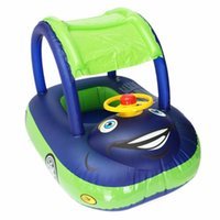Pool & Accessories Baby Swim Ring Sunshade Steering Wheel Safe Holiday Floating Summer Kids Seat Inflatable Swimming Boat Toys Water Tube PV