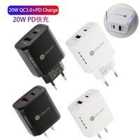 PD 20W USB C شاحن QC 3.0 2 منفذ LED محول الجدار شحن الهاتف السريع لجميع الهاتف