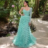 One Shoulder Sleeve Ruffles Evening Dresses Beaded Layered Arabic Style Specail Occasion Gown Tier Tulle Formal Wear Abendkleider 2022