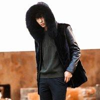 Men's Fur & Faux Mens Coat Vest Black Long Sleeve Patchwork Hooded Slim Leather Jackets Hoodies Zipper Outerwear Oversize XXXXL 4XL Y2121