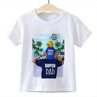 Pai é o filhos primeiro herói na moda kawaii crianças roupas casuais camiseta super pai bebê crianças